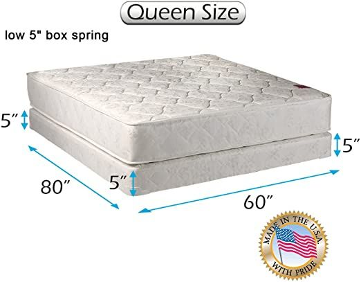 Legacy Queen Size 60 Quot X80 Quot X8 Quot Mattress And Low Profile Box Spring Set With Bed Frame Included Good In 2020 Queen Mattress Size Spring Set Box Spring