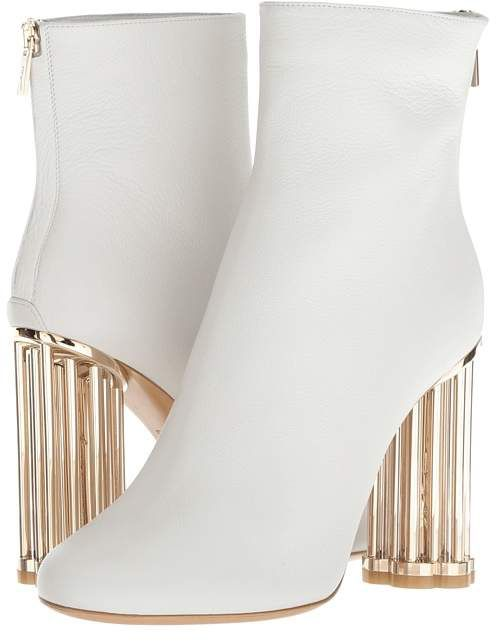 Dress Boots White and Gold #ad