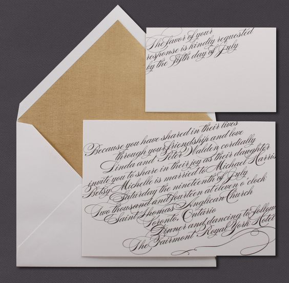 Our Script invitation suite is shown here thermograph printed in midnight ink.