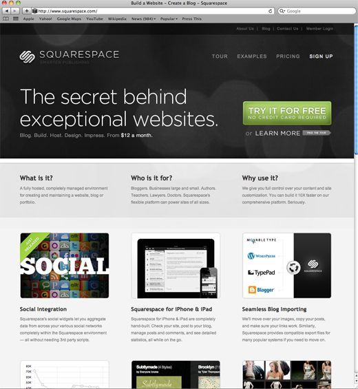 SHARESQUARE In 2003, after being unable to find a way to elegantly publish his personal website, Anthony Casalena began work on the software that is now the Squarespace Platform. Since its inception, Squarespace has blossomed into a product that powers tens of thousands of sophisticated websites for businesses, bloggers, and professionals worldwide and currently serves billions of hits per month.