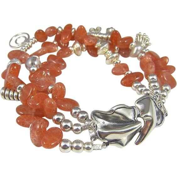 Multi Strand Bracelet  ~ THE KHALEESI ~ Sunstones, Hill Tribe Silver, Sterling, CF Pearls found at www.rubylane.com @rubylanecom