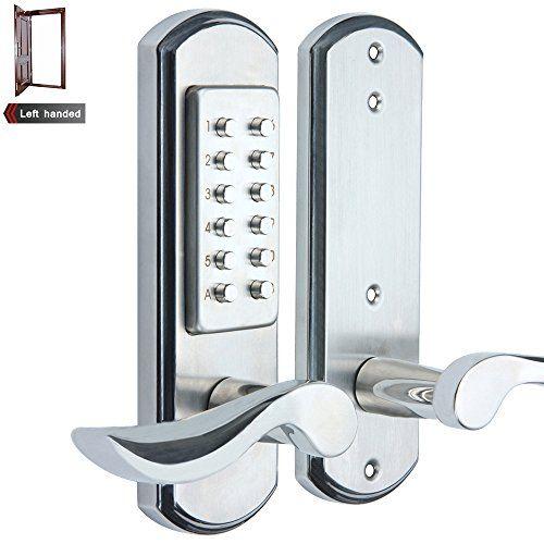 Elemake Left Handed Keyless Door Lock Mechanical Keypad Accent Lever Upgrade Not Deadbolt Only Keyless Entry Door Locks Keyless Door Lock Door Lock Security