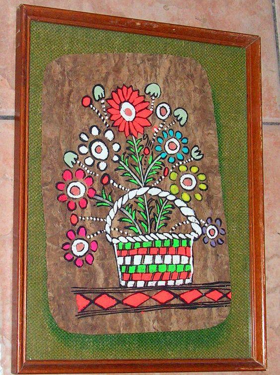 Vintage amate bark mexican folk art painting by for Folk art craft paint
