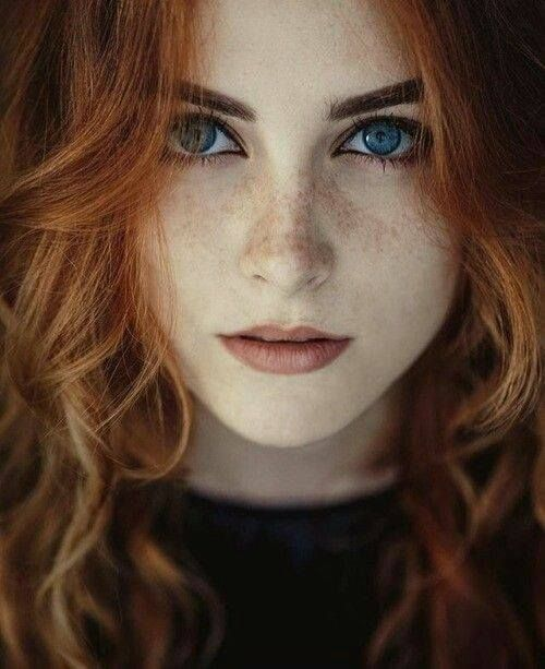Ginger Woman Red Head Freckled Pale Skinned Blue Eyed Long Wavy