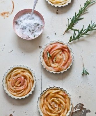 Gluten Free White Peach Tartelettes with Rosemary Sugar