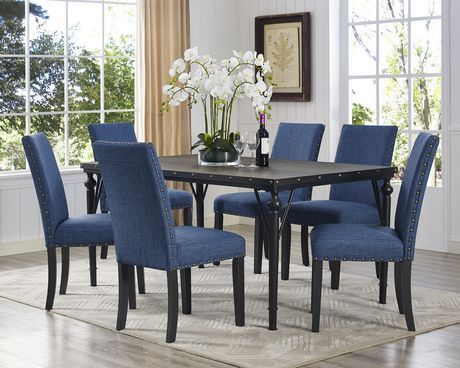 Brassex Inc Arianna 7 Piece Dining Set Table 6 Chairs Blue