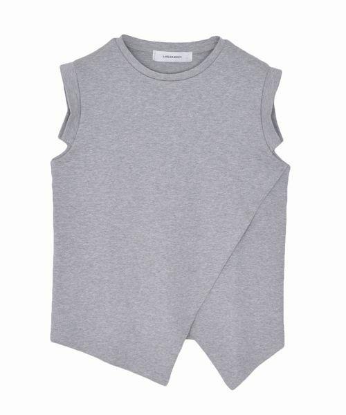 LAGUNAMOON(ラグナムーン)のカッティングラップTOPS(Tシャツ/カットソー) グレー