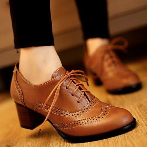 New Womens Brogue Lace Up Low Thick Heel Oxfords Retro Boat Shoes US Size 5 11   eBay