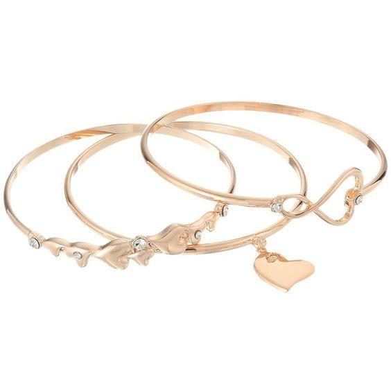 GUESS 3 Piece Hearts Bangle Set Rose GoldCrystal Bracelet 25