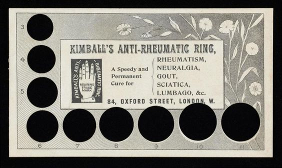 customers could buy an anti-rheumatic ring from FW Kimball (of 84 Oxford Street, London) by mail order. It has nine circular holes in it that relate the cross-sectional size of fingers to numbered ring sizes. To order a ring you simply sent off your money and Kimball's would send you one by return of post. It is printed in black on white card featuring the trademark symbol of a hand wearing a ring on the little finger.