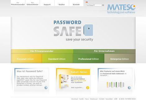 Realisierung der Seite von Passwordsafe auf der Content Management Basis von TYPO3. Mehr erfahren Sie auf der Seite unserer Internetagentur.