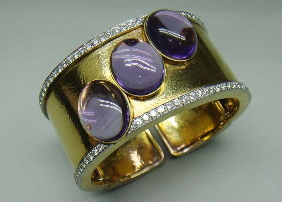 David Webb - Hammered Yellow Gold Diamond Amethyst Cuff Bracelet.
