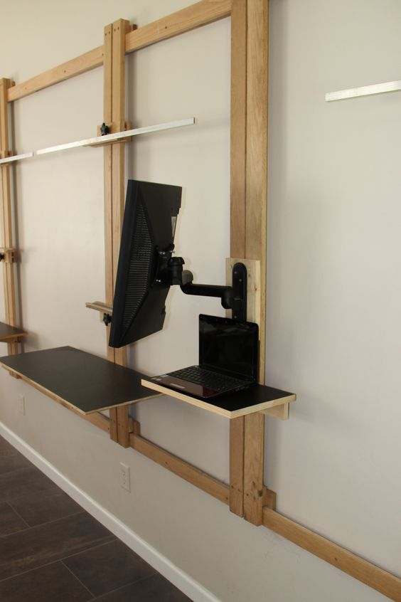 LCD Monitor Stand fits perfectly on the Tueller Wall Easel.