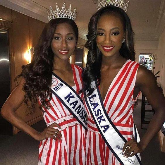 @iamdejonae (MissAlaska United States) and @slimwiggoe (Miss Kansas United States) looking absolutely stunning!