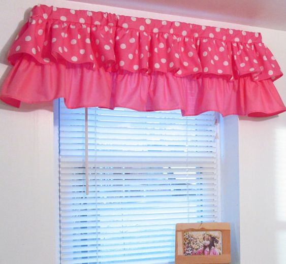 Tiered Ruffled Valance Pink Polka Dot Minnie Mouse Custom Sizing Available