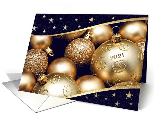 Happy New Year 2021 Christmas Ornament Design Card In 2020 Christmas Card Ornaments Business Holiday Cards Customizable Christmas Cards