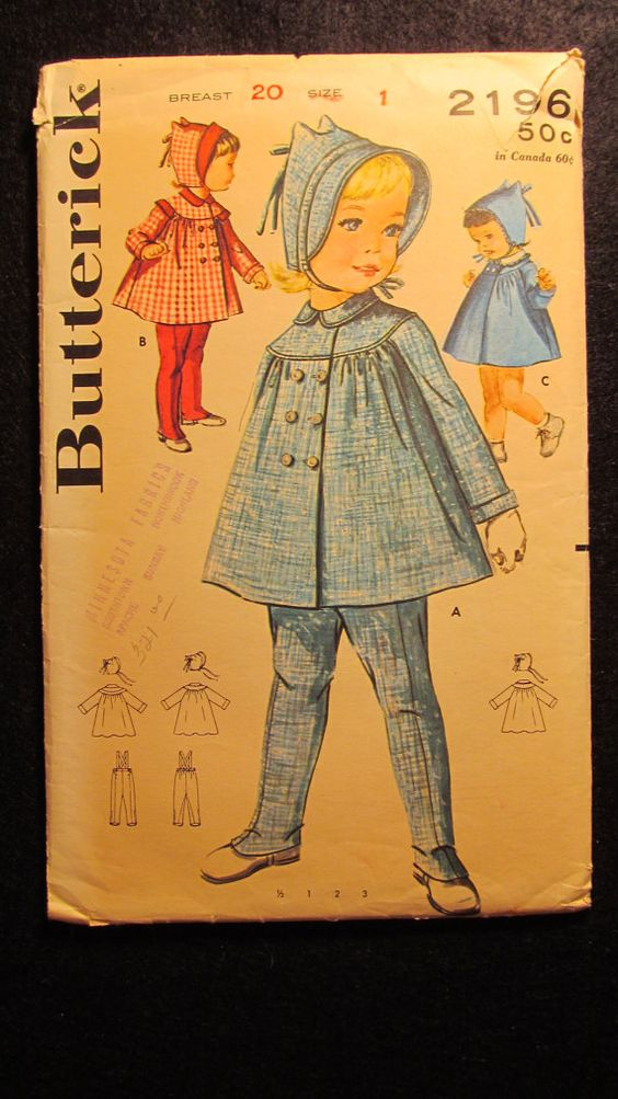 1960's Butterick Sewing Pattern 2196 Size 1  by EarthToMarrs