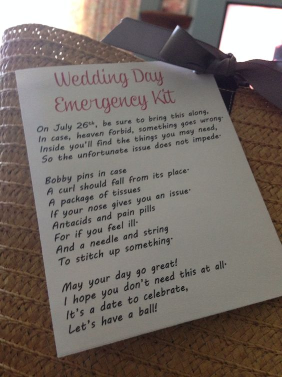 Wedding Day Emergency Kit Poem Gift Ideas Pinterest