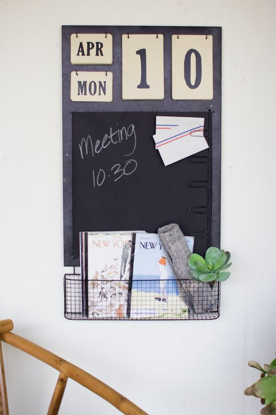 Calender With Chalkboard Note Clips And Basket