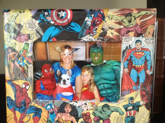 Our family at Halloween (which became our Christmas card) put into a mod-podged superhero frame