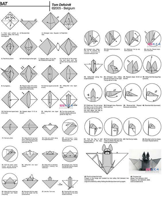 origami instructions  bat