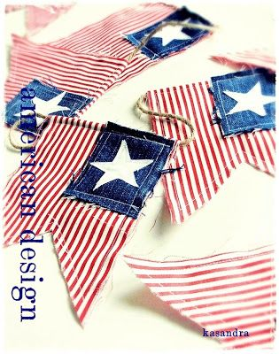 Red ticking, a square of old denim and a star stamp garland for 4th of July