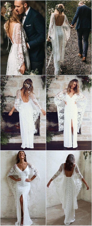 Sheath Spaghetti Strap Backless Lace Wedding Dress With Split