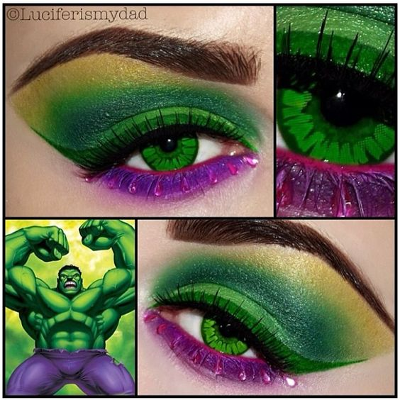 Amazing Hulk-inspired eyes by @luciferismydad using #Sugarpill Poison Plum eyeshadow and B*Slap pigments!