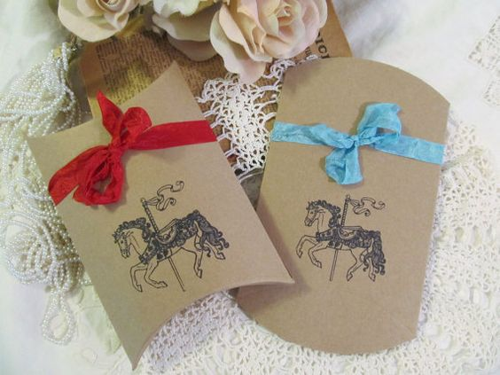 Carousel Horse Favor Box w/ribbon - Medium Kraft Pillow Box - Set of 10 - Choose Ink & Ribbons - Baby Shower Circus Carnival Birthday Party