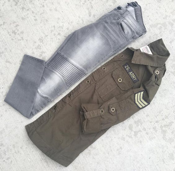 Military inspired with an olive cargo jacket and moto jeans.