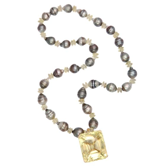 1stdibs | Pearl Necklace with Citrine Pendant