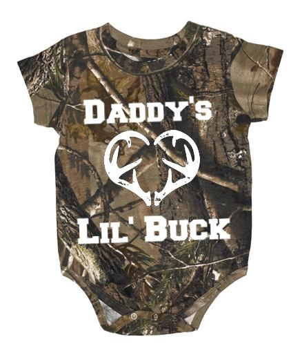Southern Sisters Designs - Daddy's Lil Buck Realtree Baby One Piece With White Graphic, $15.95 (http://www.southernsistersdesigns.com/daddys-lil-buck-realtree-baby-one-piece-with-white-graphic/)