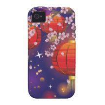 Chinese Lantern with Sakura Branch 3 iPhone 4 Case