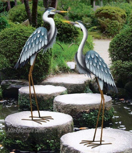Metal Garden Statue Crane Bird Yard Art