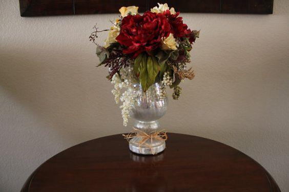 Floral Arrangement Christmas Decor Table by tinasboutiquehome