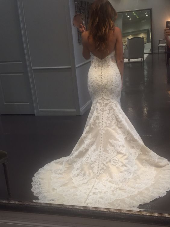 Matthew Christopher Emma Gown. Lace Strapless Mermaid Style Wedding Dress. ❤️
