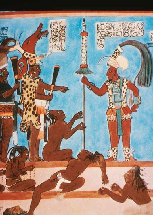 The murals of bonampak paintings cover the walls of a for Aztec mural painting