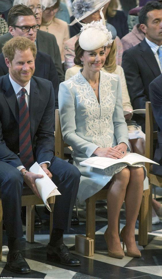 The Duchess of Cambridge was kept entertained by Prince Harry at today's thanksgiving service for the Queen: