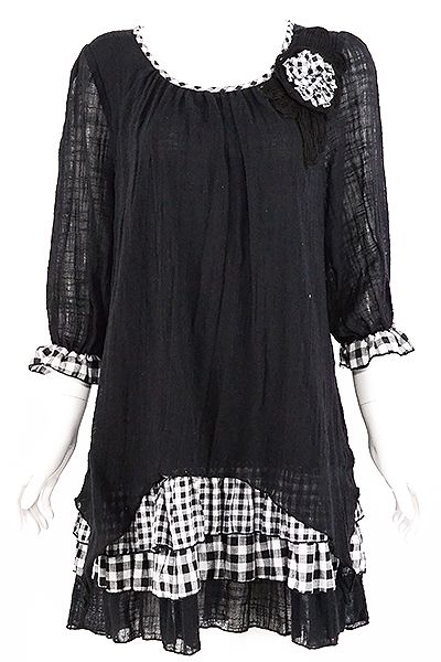 Black Layered Gingham Tunic www.blondellamydean.com: