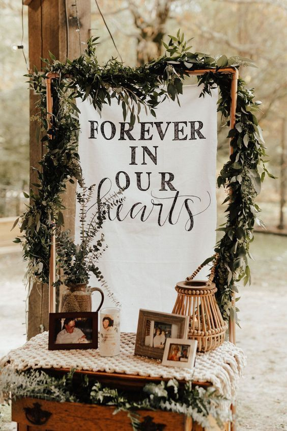 Top 11 Most Glamorous Boho Wedding Ideas Wedding Sign With Greenery Diy Boho Wedding Decorations 684758318 Memory Table Wedding Diy Wedding Wedding Memorial