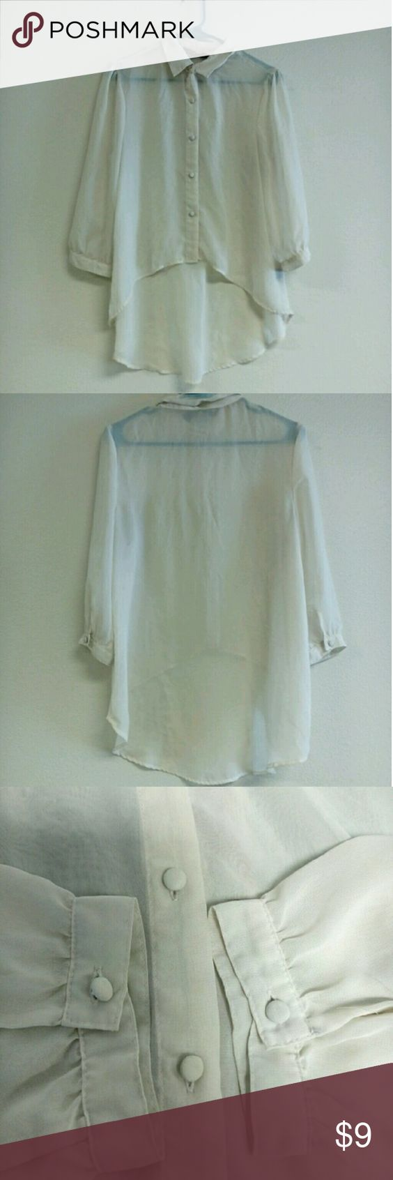Sheer Off White Pull Over Cardigan Super cute off white see through pull over, perfect for spring/summer! Adorable coated buttons down the front and on the wrists, with a collar. Only worn a few times. Absolutely no flaws. Feel free to make an offer, my prices are almost always negotiable! :)  Measurements: Size L  **Sorry I cannot model this. Ali & Kris Sweaters Cardigans
