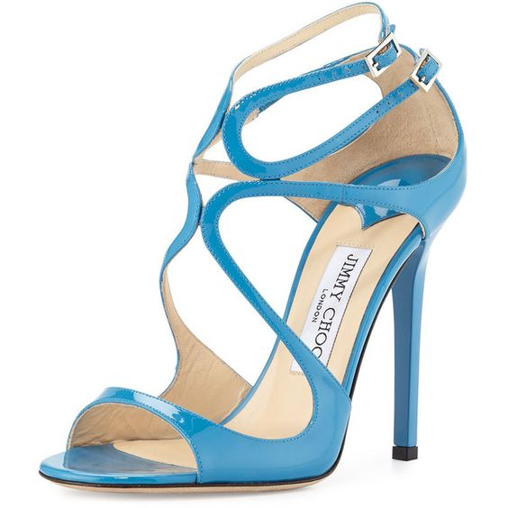 Jimmy Choo Lang Patent Strappy 100mm Sandal (£640) ❤ liked on Polyvore featuring shoes, sandals, heels, sapatos, robot blue, blue sandals, open toe sandals, caged sandals, ankle strap shoes and caged heel sandals