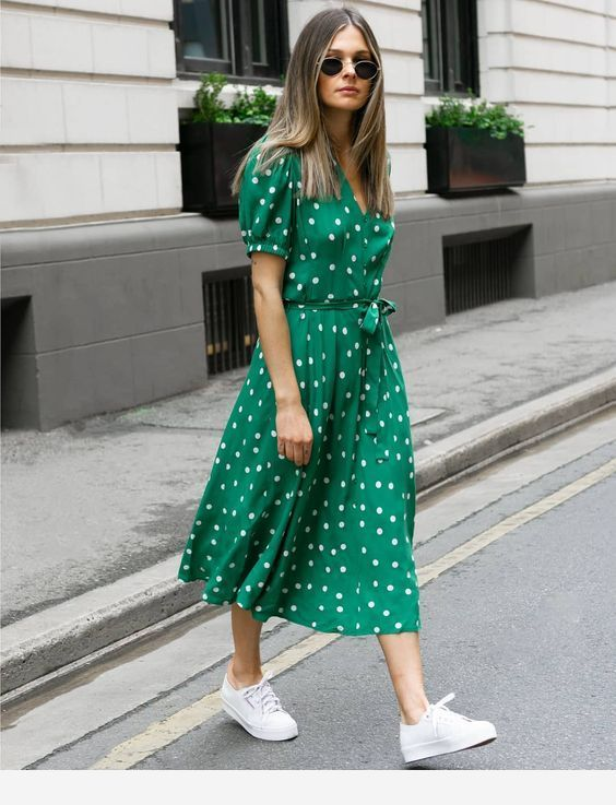 Lovely Green Dress With White Polka Dots Dot Dress Outfit Everyday Dresses Green Dress Outfit
