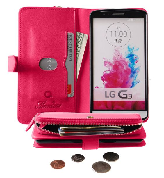 Monica [ZIPPER POUCH] Premium Leather [STANDING] [CARD SLOT] Flip Cover Wallet Case for #LG G3 (Pink) #covers #designercover #mobile #shockabsorption  https://goo.gl/TysCWV
