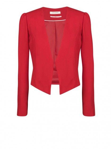 blazer court structur rouge geranium blazers femme naf naf wish list pinterest. Black Bedroom Furniture Sets. Home Design Ideas