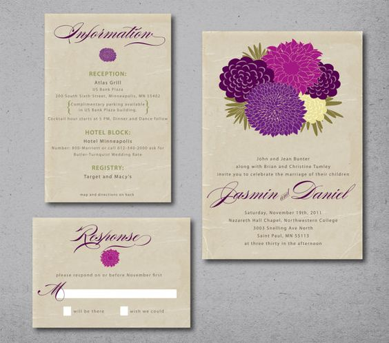 My Bouquet Wedding Invitation deposit shown in by gingerpdesigns, $60.00