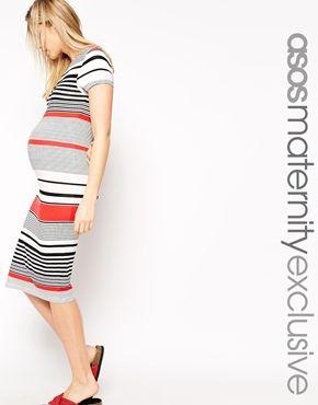 Enlarge ASOS Maternity Midi Body-Conscious Dress In Varigated Stripe