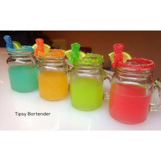 Sour Patch Tequila Shots - For more delicious recipes and drinks, visit us here: www.tipsybartender.com