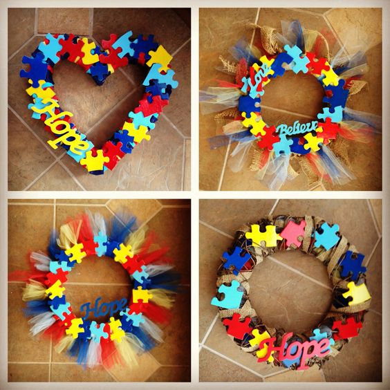 august craft ideas i made these autism awareness wreaths craft ideas 1072