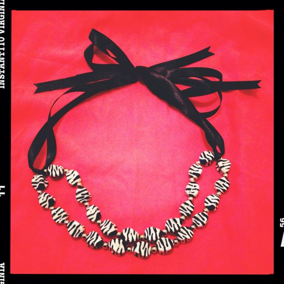 my latest creation - zebra stripped ribbon necklace